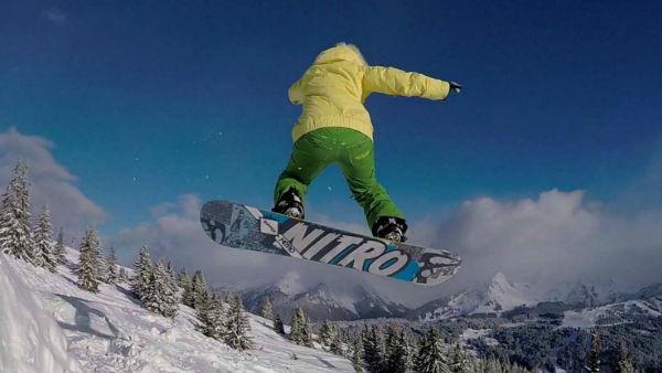 Snowboarding in the Portes du Soleil